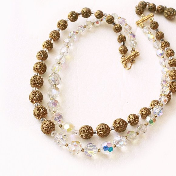 Vintage Marvella Necklace, MCM Jewelry, AB & Gold Filigree Beads, Double Strand